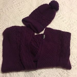 Coach purple infinity scarf and hat.